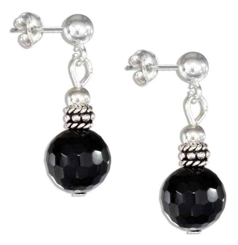 Faceted Black Onyx Drop Post Earrings Silver Bali Beads