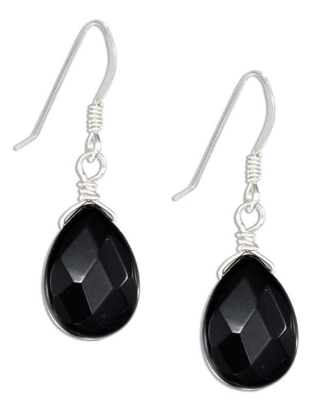 Faceted Black Onyx Teardrop Dangle Earrings
