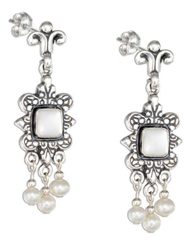 Fancy Post Dangle Mother Of Pearl Pearl Drops Earrings