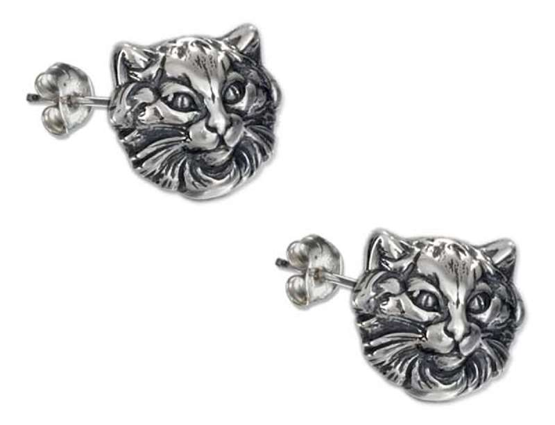 Fancy Detailed Cat Face Post Earrings
