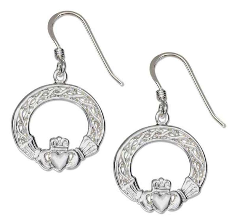 Open Celtic Weave Irish Claddagh Dangle Earrings