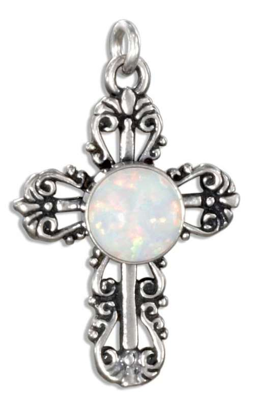 Filigree Imitation Opal Christian Religious Cross Charm