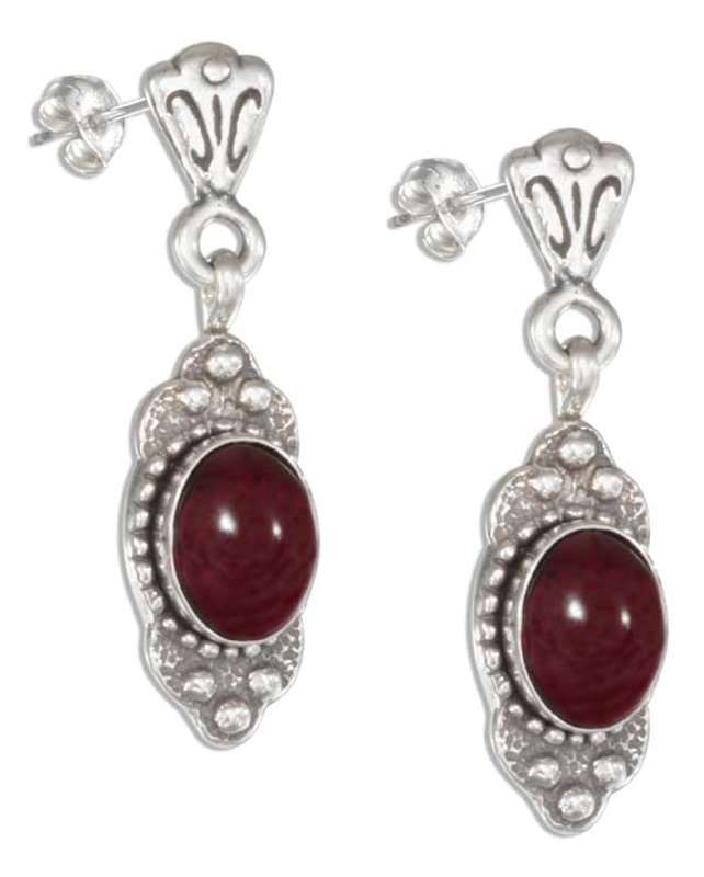Garnet Post Dangle Earrings