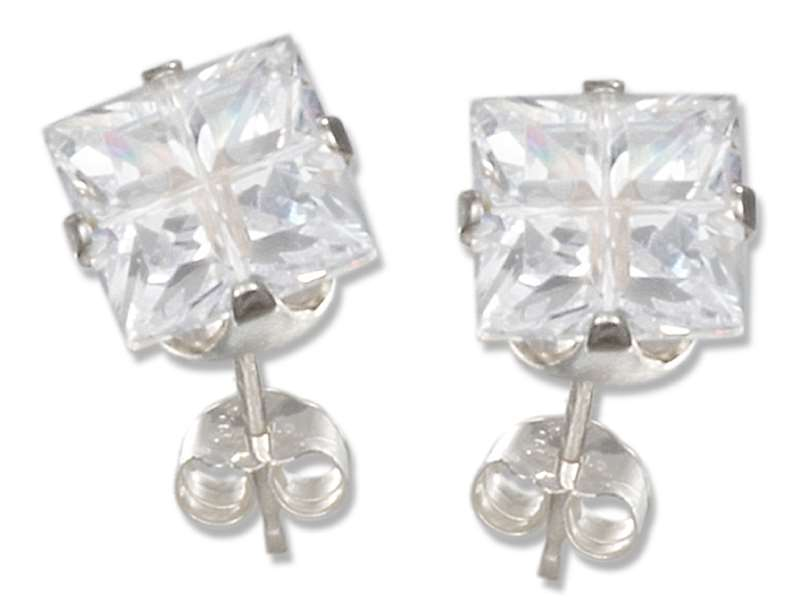 Segmented Cut 6mm Square Cubic Zirconia Stud Earrings