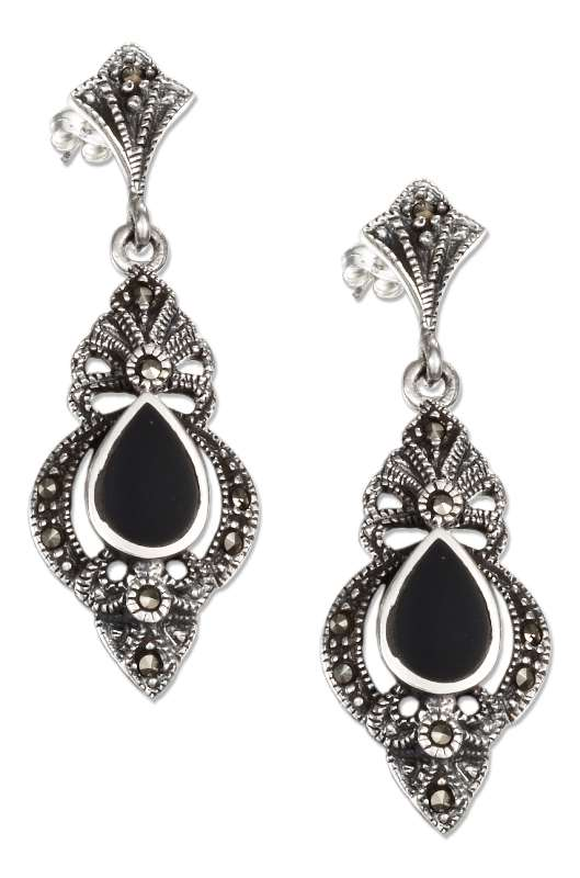 Victorian Marcasite Black Onyx Post Dangle Earrings