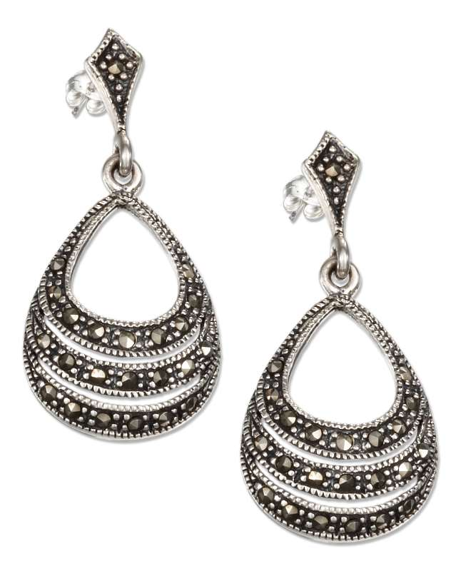 Fat Bottom Open Teardrop Marcasite Post Dangle Earrings