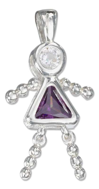 February Birthstone Brat Child Baby Girl Charm Pendant