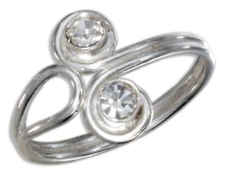 Crystal Bypass Wrap Toe Ring