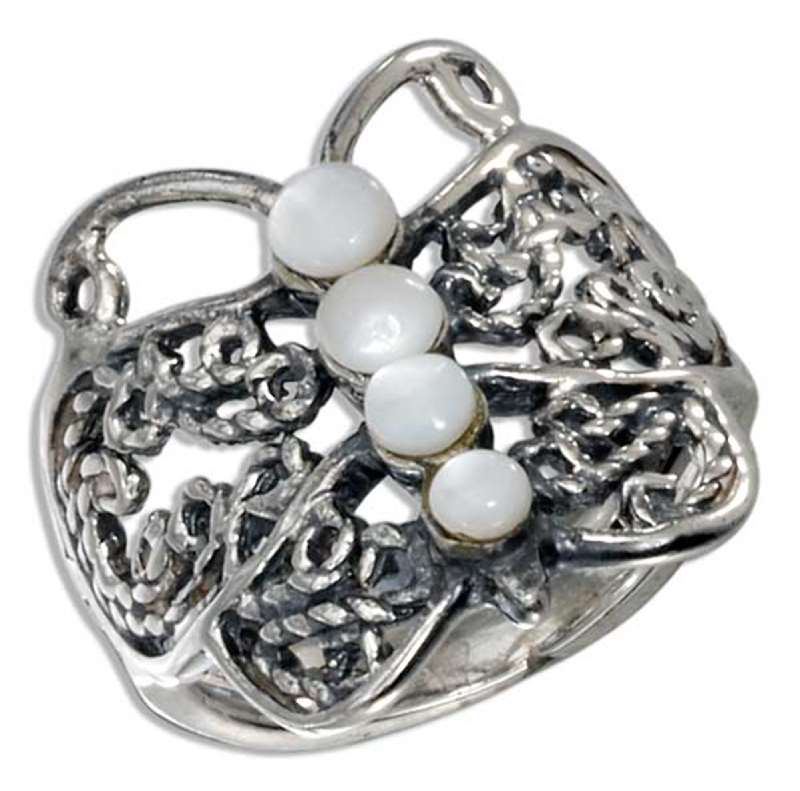 Mother Of Pearl Filigree Butterfly Ring