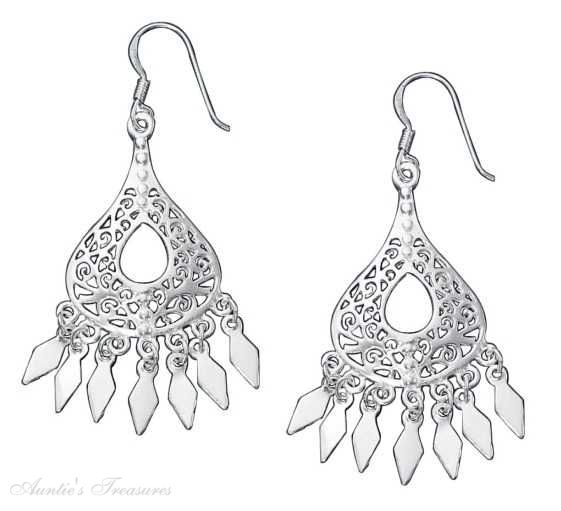 Filigree Teardrop Earrings Fringe