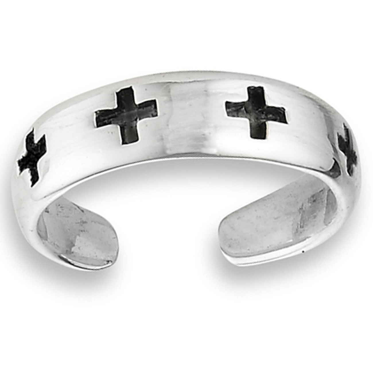Five Antiqued Christian Crosses Adjustable Toe Ring
