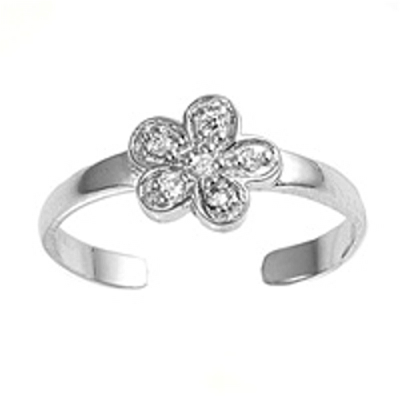 Clear Six Cubic Zirconia Five Petal Flower Adjustable Toe Ring