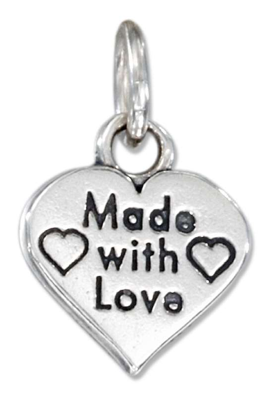 """Made With Love"" Word Message Heart Charm"