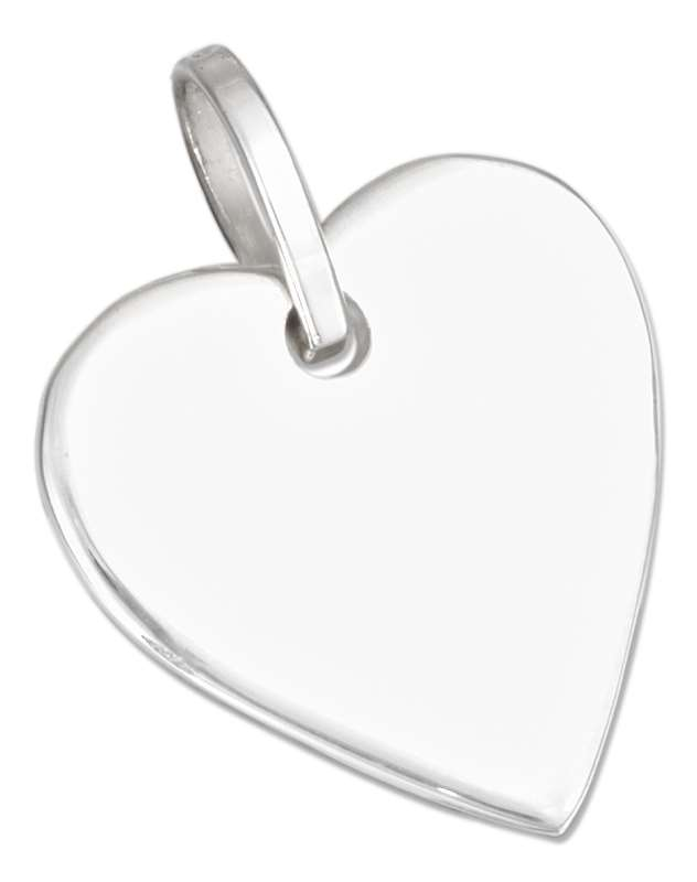 21mm Flat Engraveable Heart Tag ID Pendant