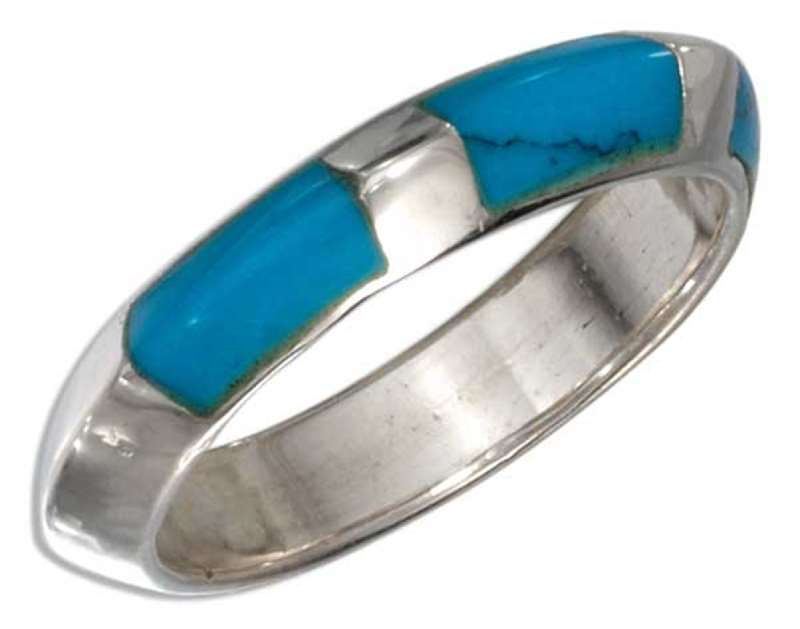 Flattened Puffed Ring Three Inlay Turquoise Stones Ring
