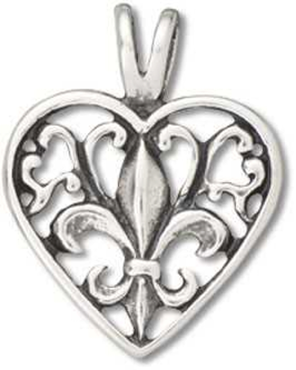 French Heritage Scrolled Heart With Fleur De Lis Pendant