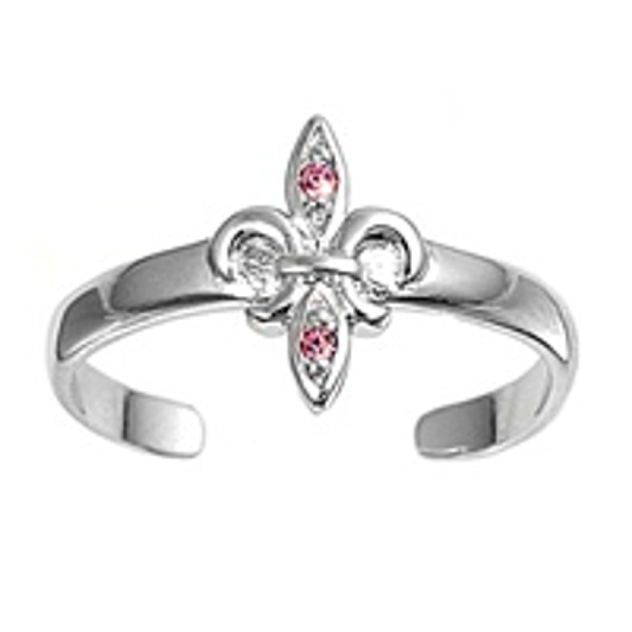 Fleur De Lis Light Pink Cubic Zirconia Adjustable Toe Ring