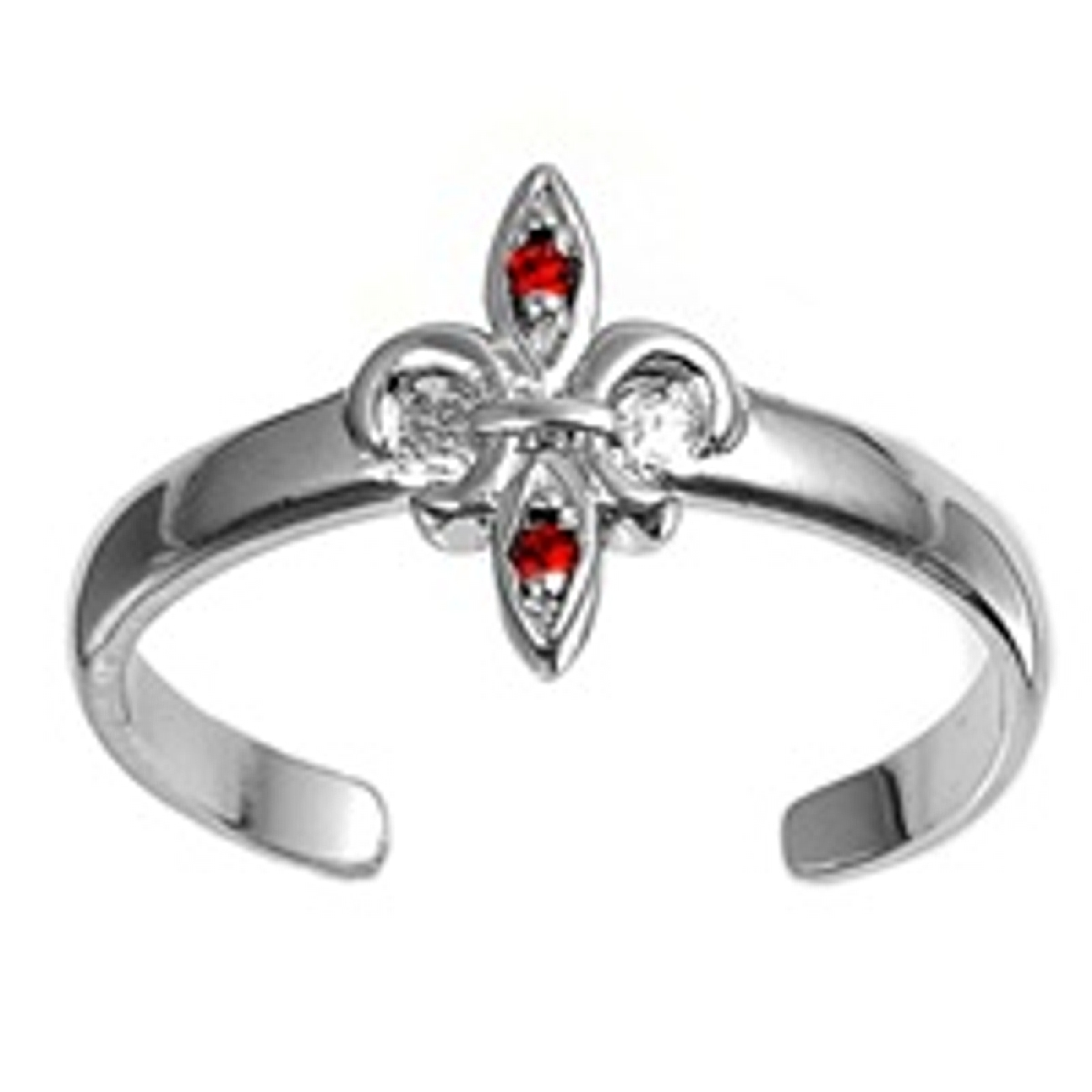Fleur De Lis Ruby Red Cubic Zirconia Adjustable Toe Ring