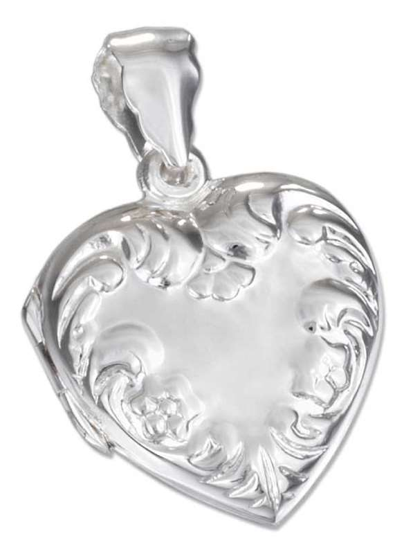 Floral Embossed Heart Locket Pendant
