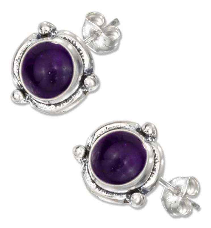 Flower Concho Amethyst Post Earrings