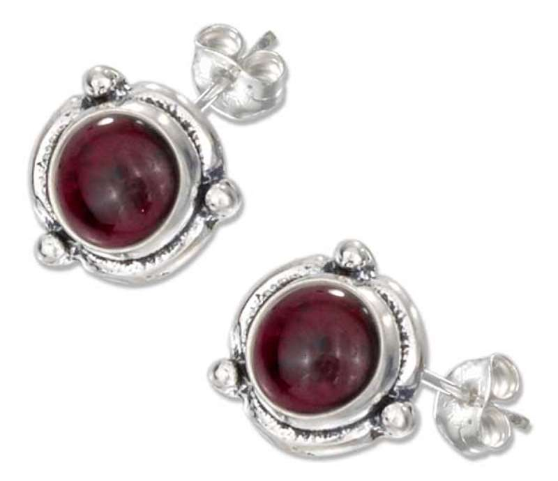 Flower Concho Garnet Post Earrings