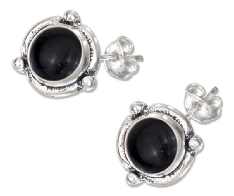 Flower Concho Black Onyx Post Earrings