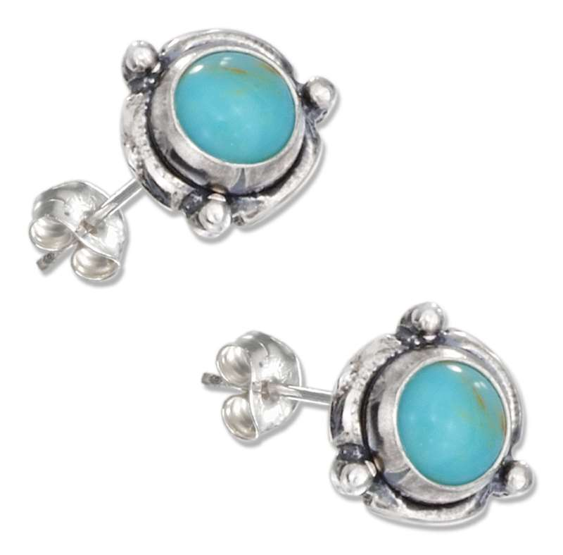 Flower Concho Turquoise Post Earrings