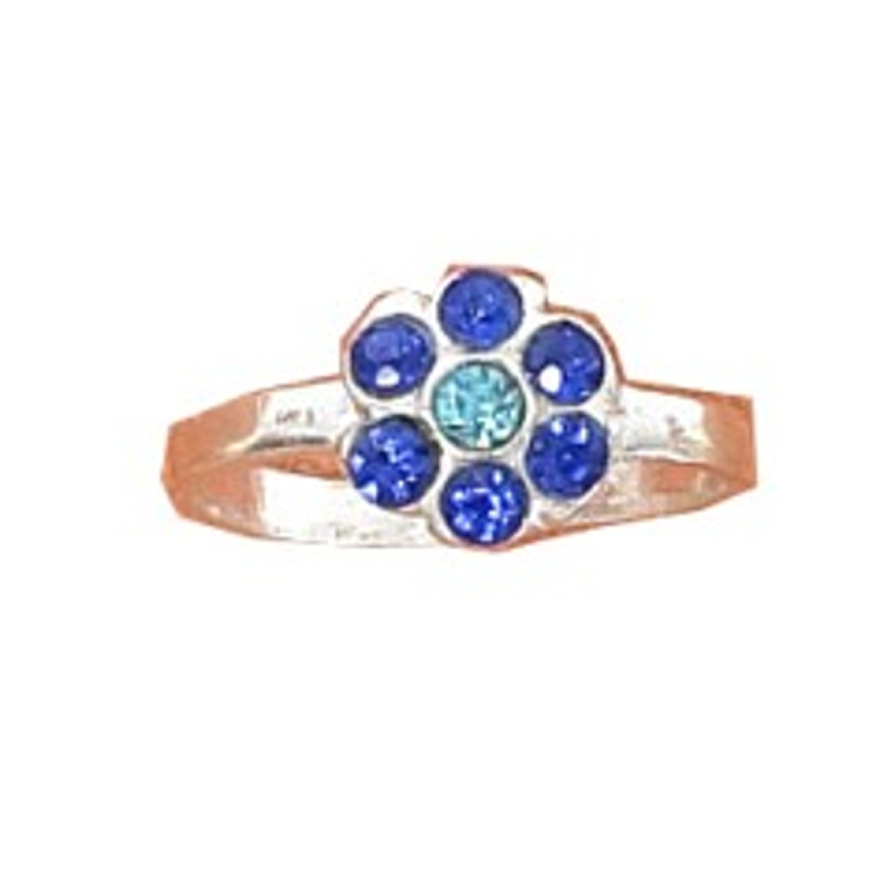 Blue And Light Blue Flower Crystal Toe Ring