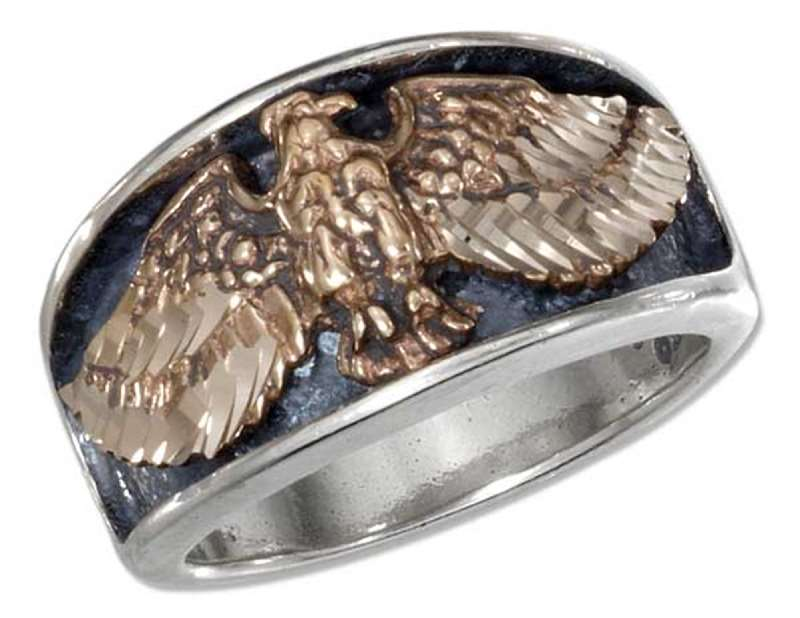 Men's Flying Eagle Ring Bronze Accent