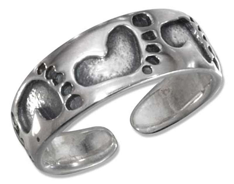 Sterling Silver Men's Beach Footprints Adjustable Toe Ring