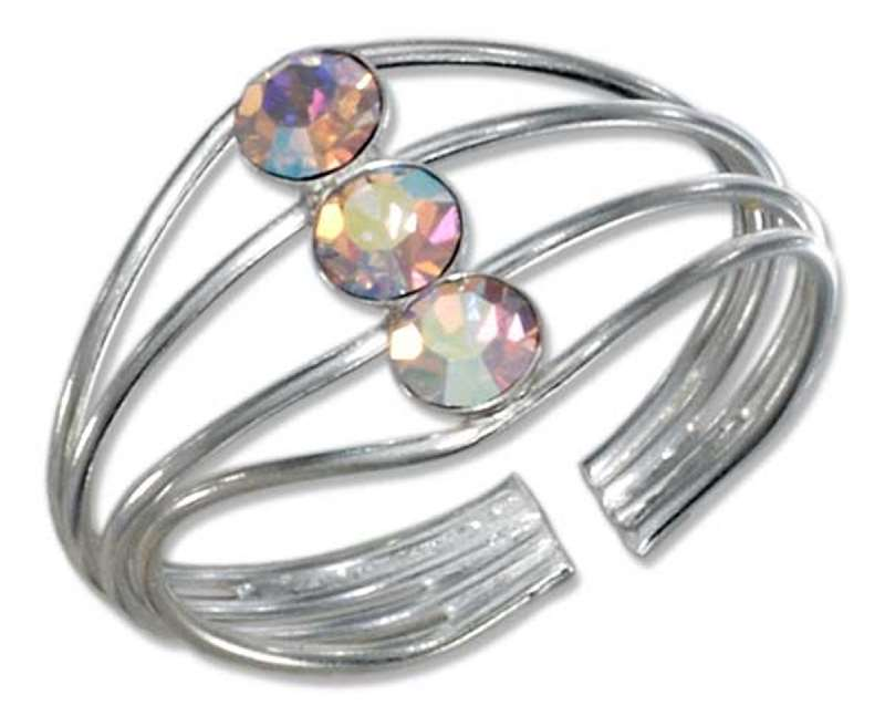 Aurora Borealis Crystal Wire Coil Toe Ring
