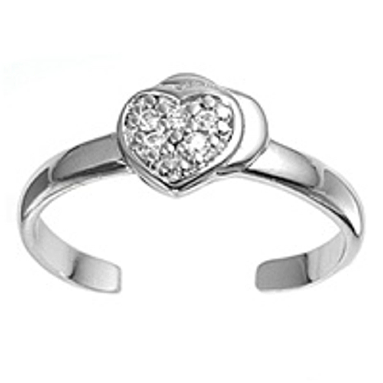 Clear Cubic Zirconia Heart On Plain Heart Adjustable Toe Ring