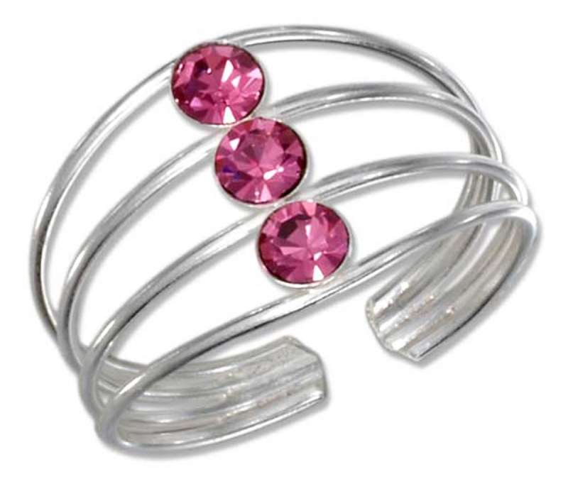 Pink Crystal Toe Ring