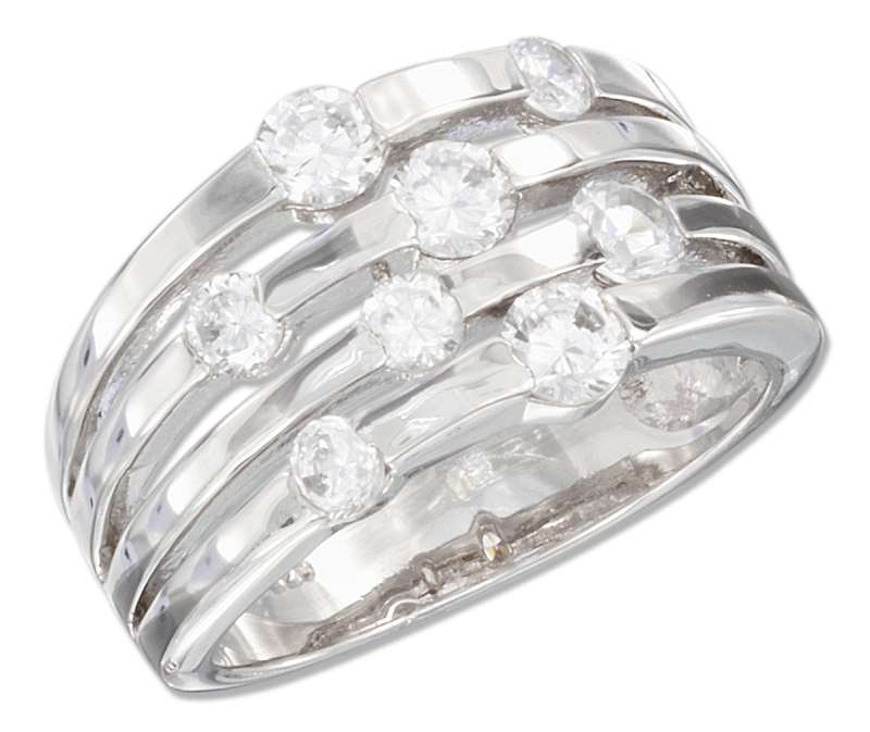 4 Row Scattered Cubic Zirconia Ring