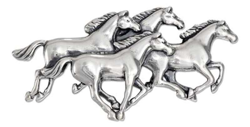 Horse Herd Animal Brooch Pin