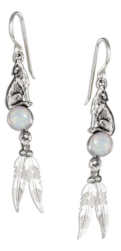 Wolf Dangle Earrings Imitation Opal