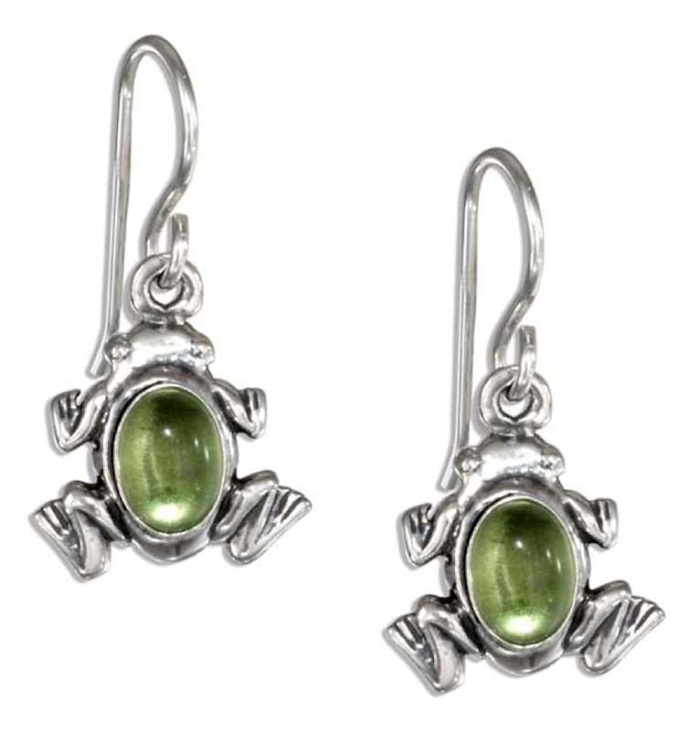 Peridot Frog Earrings