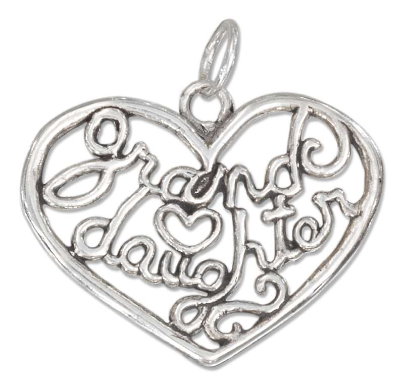 """GRANDDAUGHTER"" Open Filigree Heart Charm"