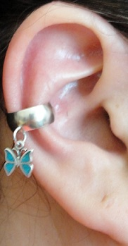 Left Or Right Dangling Blue Turquoise Butterfly Charmed Ear Cuff