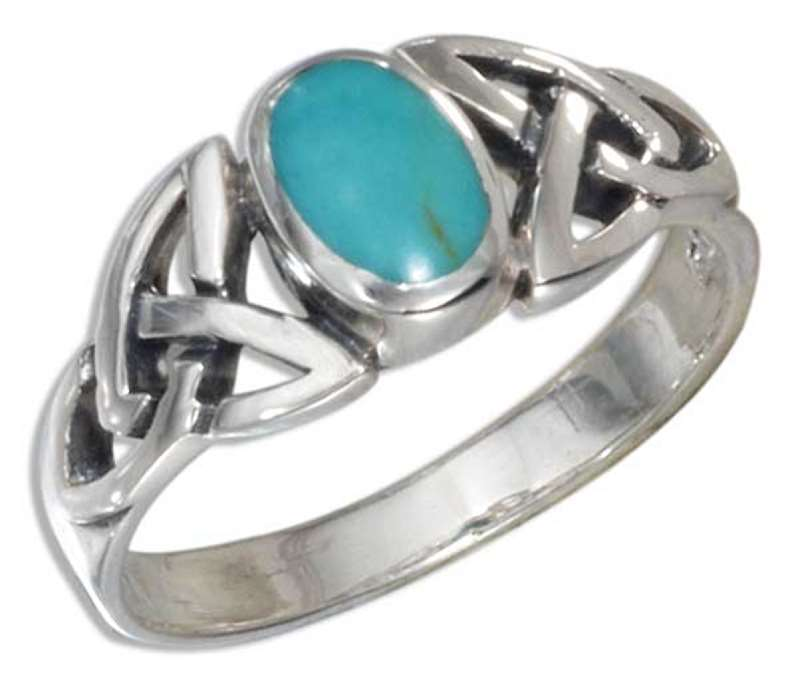 Turquoise Ring Celtic Knots Shank