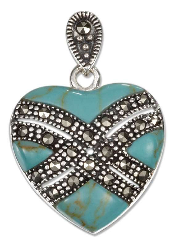 Turquoise Heart Pendant Marcasite Bands
