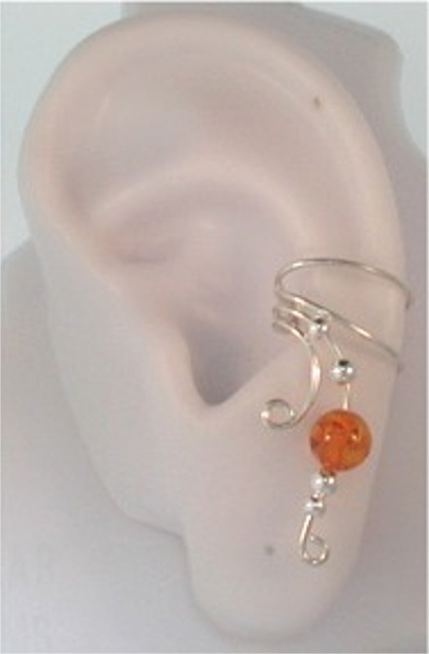 Right Only Golden Amber Bead Wave Ear Cuff Wrap