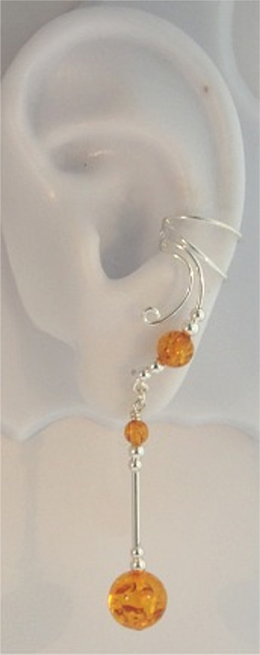 Right Only Long Dangle Honey Amber Sphere Ear Cuff Wrap