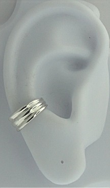 Left Or Right Nonpiercing Graduated Plain Three Ribbed Band Ear Cuff
