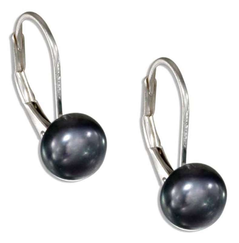Gray Freshwater Pearl Button Leverback Earrings