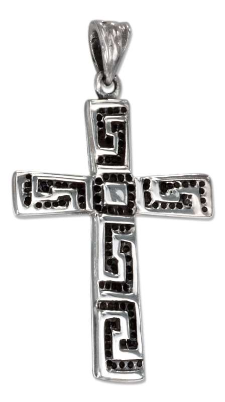 Greek Key Design Christian Religious Cross Pendant