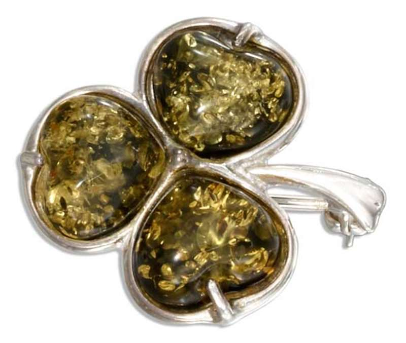Green Amber Shamrock Three 3 Leaf Clover Brooch Pin