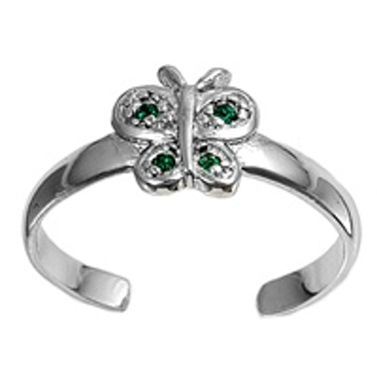 Green Cubic Zirconia Butterfly Adjustable Toe Ring
