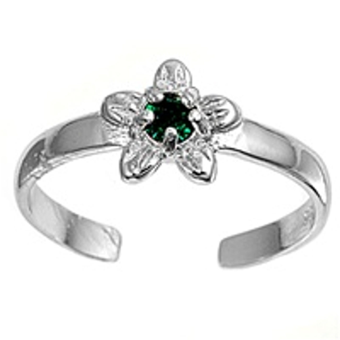 Green Cubic Zirconia Daisy Flower Adjustable Toe Ring