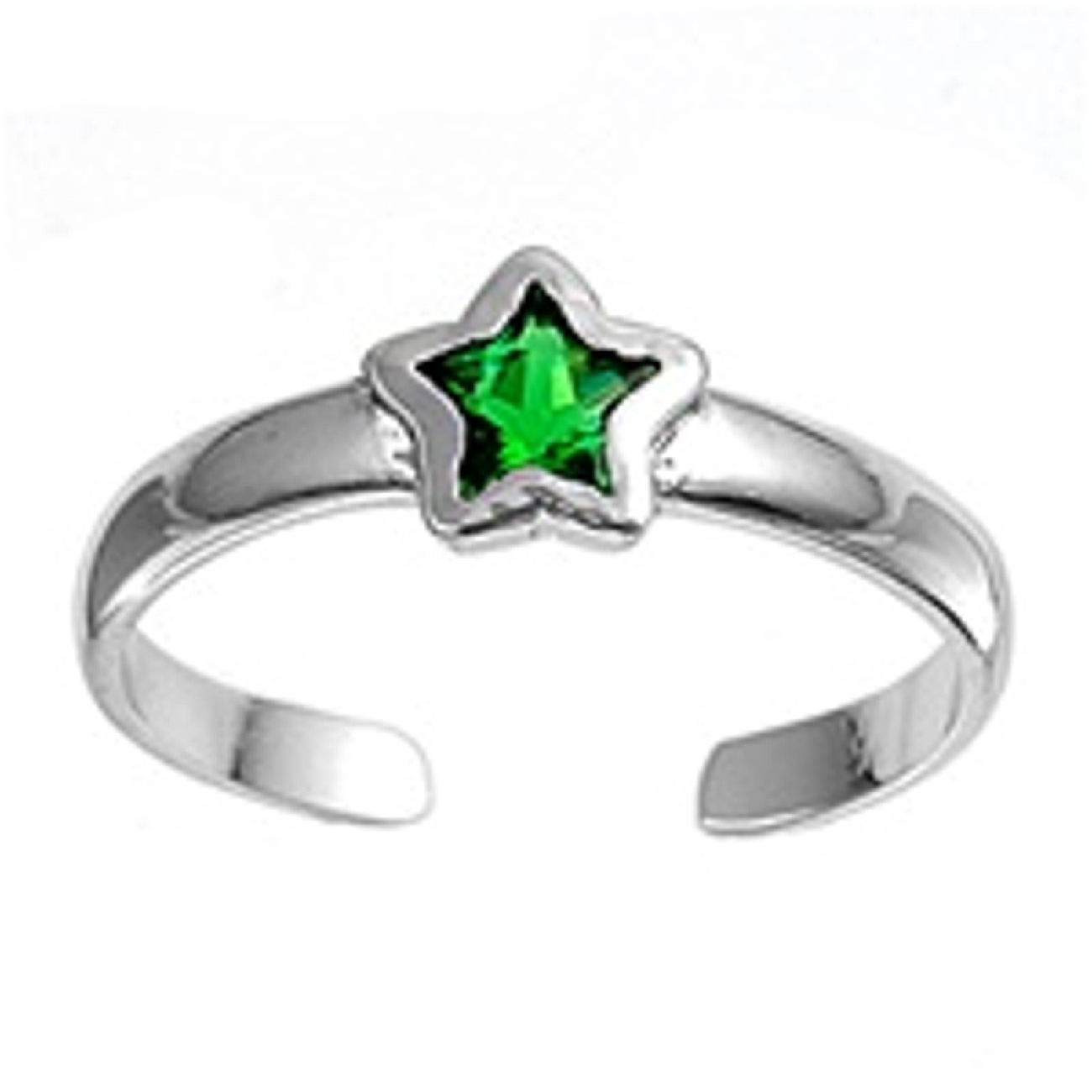Celestial Green Cubic Zirconia Star Adjustable Toe Ring